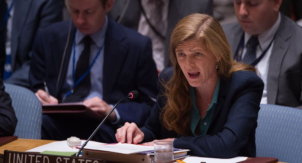 United States Ambassador to the UN Samantha Power speaks during a United Nations Security Council emergency meeting on the situation in Syria, at the United Nations September 25, 2016 in New York.