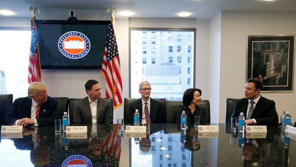 U.S. President-elect Donald Trump sits with PayPal co-founder and Facebook board member Peter Thiel, Apple Inc CEO Tim Cook, Oracle CEO Safra Catz and Tesla Chief Executive Elon Musk during a meeting with technology leaders at Trump Tower in New York U.S., December 14, 2016. - Sputnik International