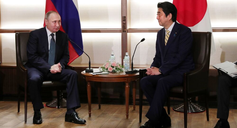 Russian President Vladimir Putin and Japanese Prime Minister Shinzo Abe, right, meet in Nagato, Yamaguchi Prefecture