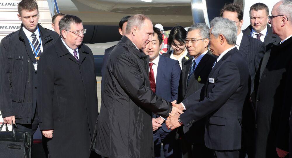 Russian President Vladimir Putin arrives in Tokyo