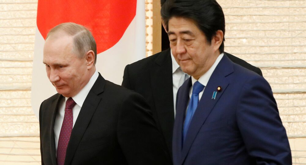 Russian President Vladimir Putin walks with Japanese Prime Minister Shinzo Abe upon arrival for a working lunch in Tokyo, Japan, Friday, Dec. 16, 2016.
