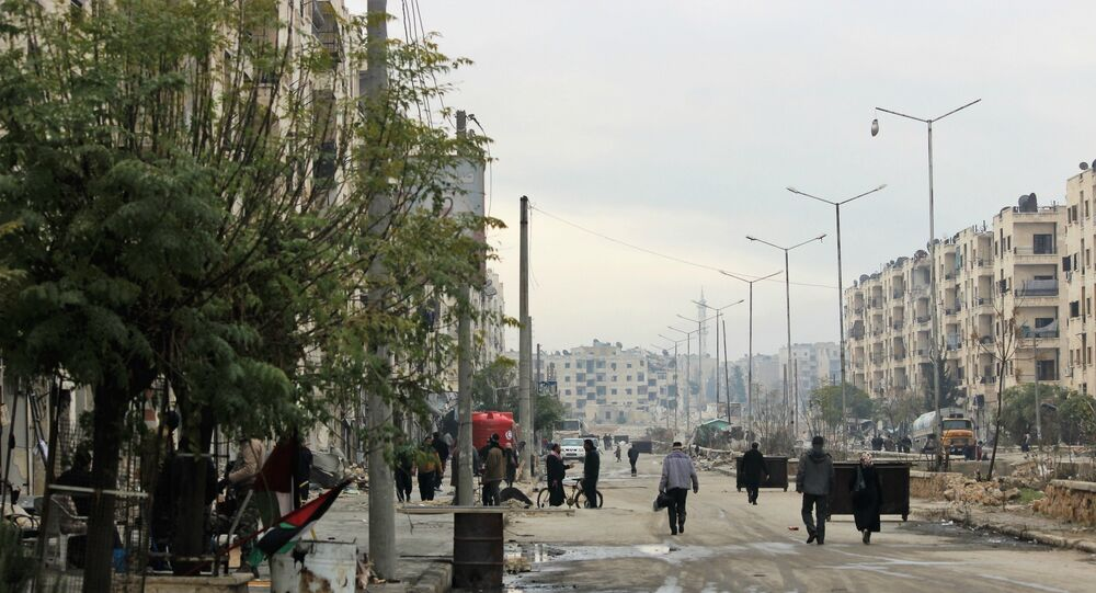 Hanano main street, East Aleppo. After SAA liberation from Nusra Front Occupation