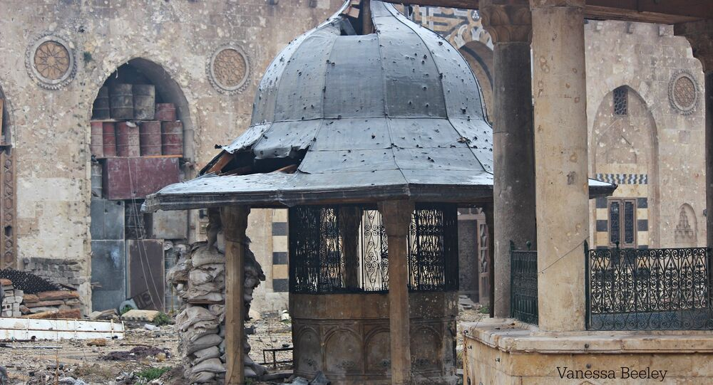 Damage to the Umayyed Mosque in Old City, East Aleppo, used as a sniper centre by Nusra Front and Ahrar Al Sham