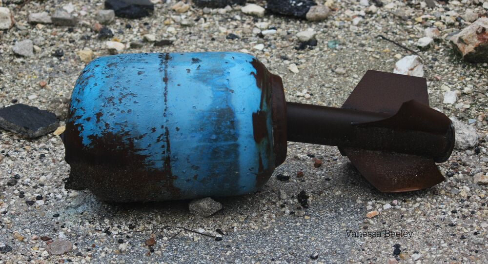 Unexploded gas canister fired by Nusra Front and associated NATO and Gulf state funded militant factions, Old City, East Aleppo