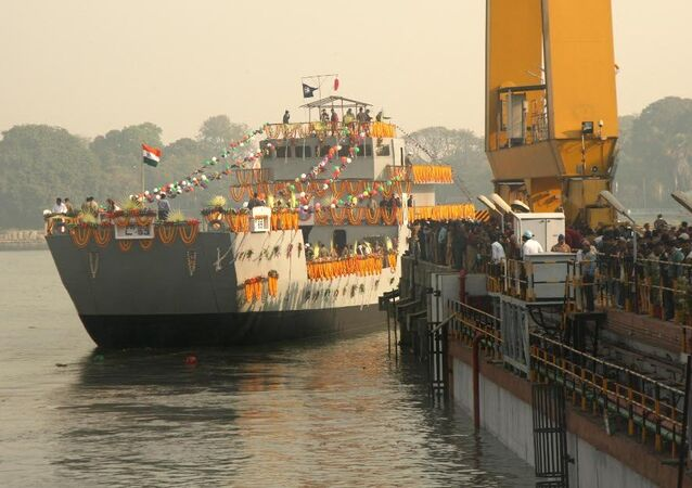 The third ship of the Landing Craft Utility (LCU) Mk IV project, Yard 2094, for the Indian Navy being launched at a ceremony at Garden Reach Shipbuilders and Engineers Ltd (GRSE), Kolkata. (File)