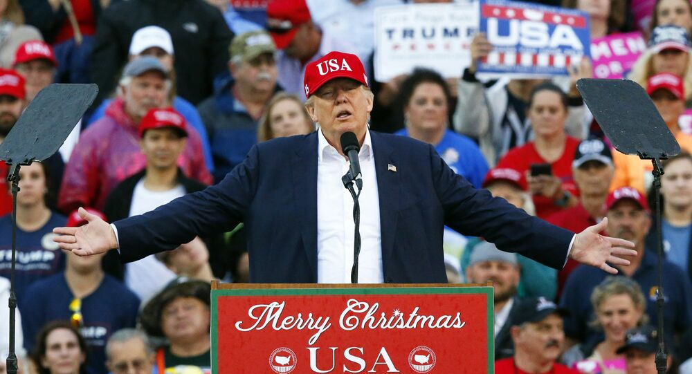 President-elect Donald Trump speaks during a rally at the Ladd–Peebles Stadium, Saturday, Dec. 17, 2016, in Mobile, Ala.