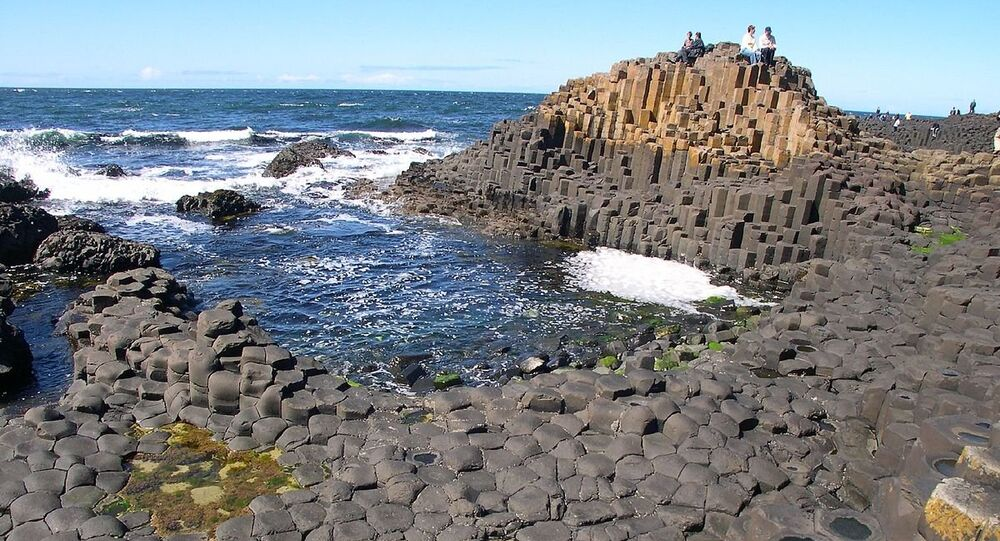 Columns of basaltic rock at the Giant's Causeway in Northern Ireland