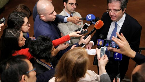 Permanent Representative of France to the United Nations Francois Delattre speaks to media ahead of a United Nations Security Council vote, aimed at ensuring that U.N. officials can monitor evacuations from besieged parts of the Syrian city of Aleppo, at the United Nations in Manhattan, New York City, U.S., December 18, 2016 - Sputnik International