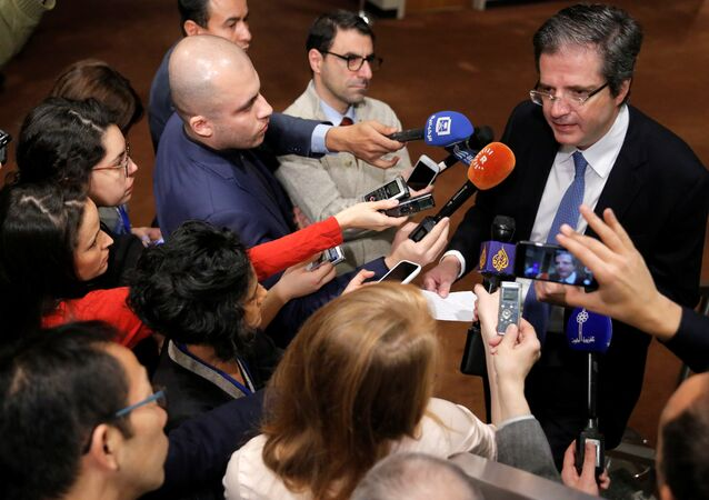 Permanent Representative of France to the United Nations Francois Delattre speaks to media ahead of a United Nations Security Council vote, aimed at ensuring that U.N. officials can monitor evacuations from besieged parts of the Syrian city of Aleppo, at the United Nations in Manhattan, New York City, U.S., December 18, 2016