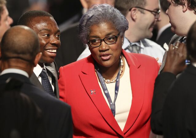 Democratic party chairperson Donna Brazile talks with audience members before the debate between Republican vice-presidential nominee Gov. Mike Pence and Democratic vice-presidential nominee Sen. Tim Kaine at Longwood University in Farmville, Va., Tuesday, Oct. 4, 2016.