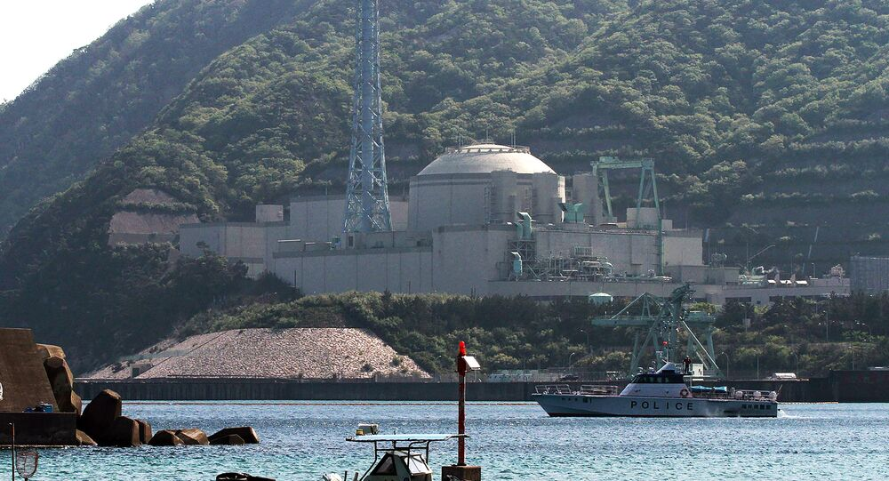 This file picture taken on May 6, 2010 shows a police boat on patrol near the Monju fast-breeder nuclear reactor plant in Tsuruga, Fukui prefecture