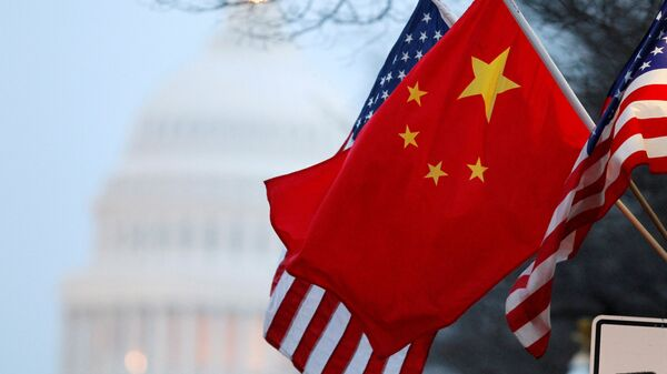 The People's Republic of China flag and the U.S. Stars and Stripes fly along Pennsylvania Avenue near the US Capitol during Chinese President Hu Jintao's state visit in Washington, DC, US on January 18, 2011. - Sputnik International