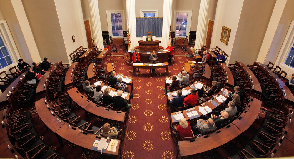 North Carolina Electors rehearse for tomorrow's electoral college vote in the North Carolina State Capitol building in Raleigh, North Carolina, 18 December 2016