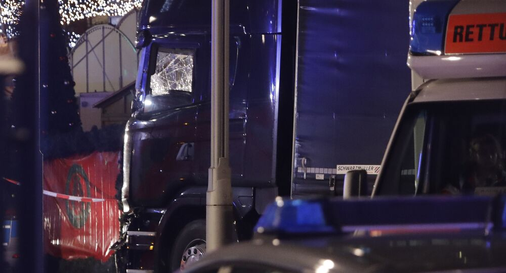 A truck which ran into a crowded Christmas market in Berlin, Germany, Monday, Dec. 19, 2016.