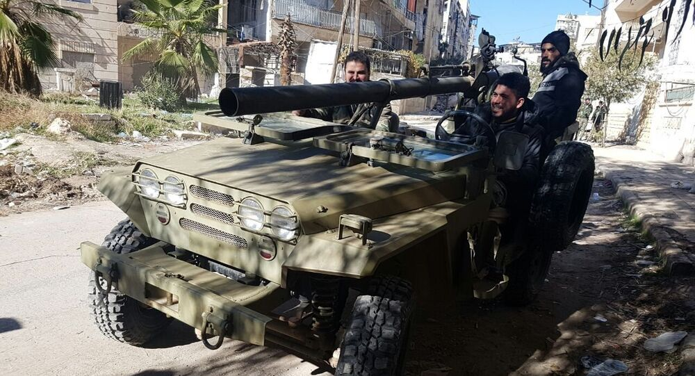 Soldiers in a liberated neighborhood of eastern Aleppo, Syria
