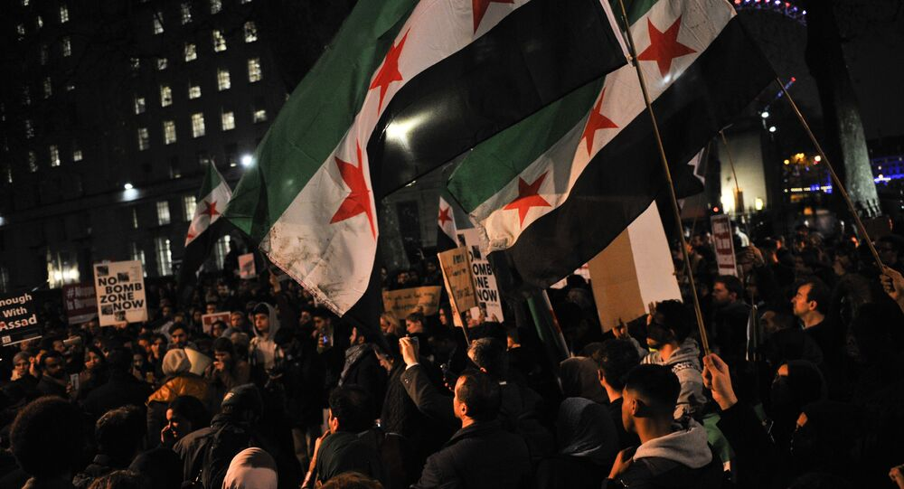 Protesters wave flags during a demonstration in solidarity with the inhabitants of the embattled Syrian city of Aleppo, outside the entrance to Downing Street, in central London on December 13, 2016.