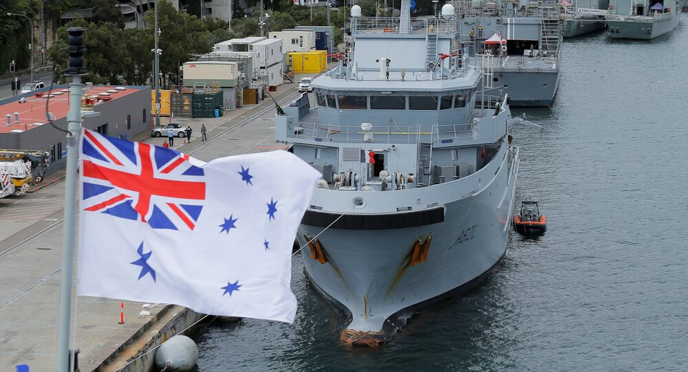 Australian Naval vessels are pictured from the deck of HMAS Adelaide during a visit by French Defence Minister Jean-Yves Le Drian and Australian Defence Minister Marise Payne in Sydney, December 19, 2016.