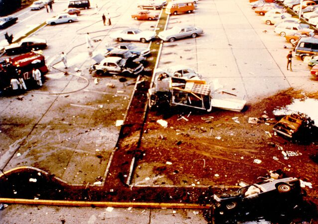 Aftermath of the 1981 Red Army Faction bombing of U.S. Air Forces Europe headquarters at Ramstein Air Base, Germany