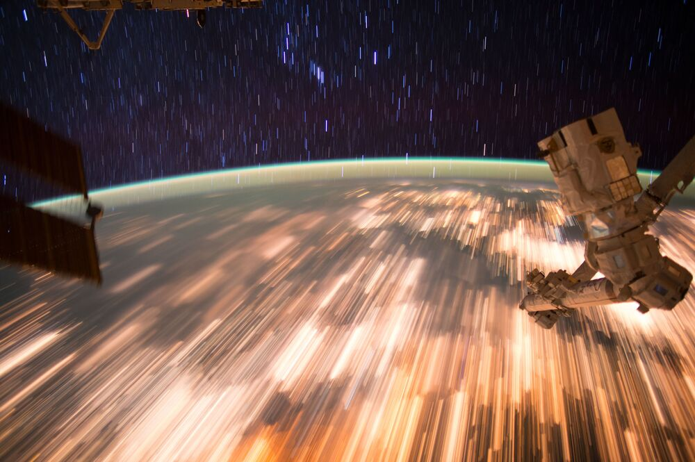 A photo of the Earth taken from the International Space Station using a long exposure