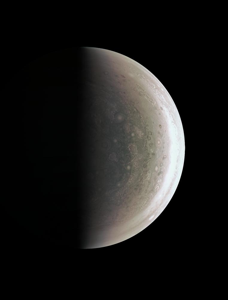 A photo of the southern pole of Jupiter