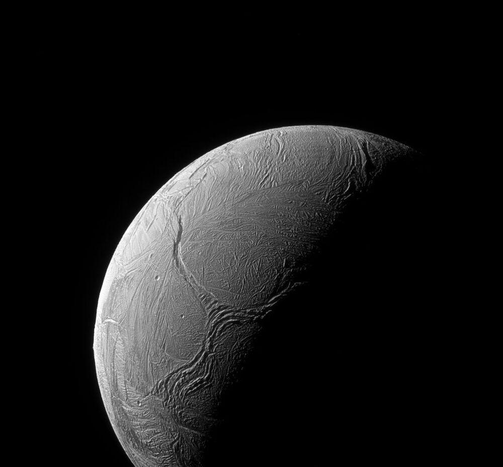 The moon of Saturn Enceladus' south pole