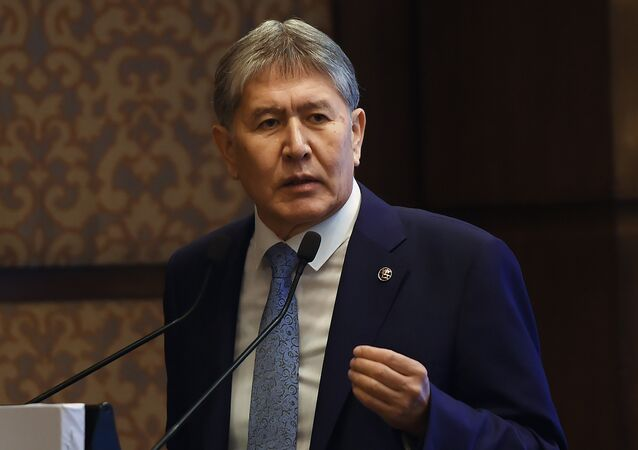 Kyrgyzstan President Almazbek Atambayev speaks during the India-Kyrgyz Republic Joint Business Forum in New Delhi on December 21, 2016