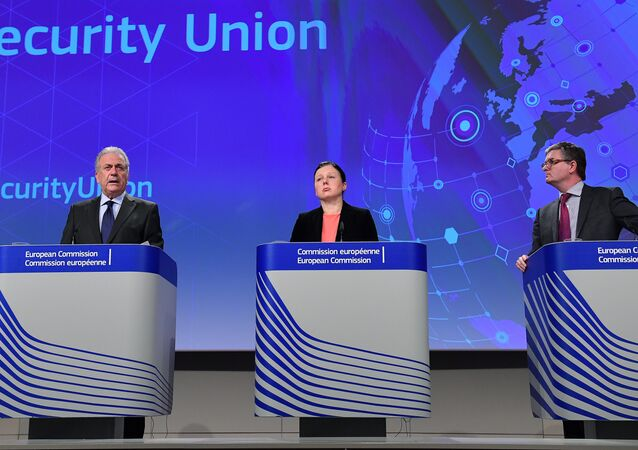 (L-R) European Commissioner for Migration, Home Affairs and Citizenship Dimitris Avramopoulos, European Commissioner for Justice, Consumers and Gender Equality Vera Jourova and European Commissioner for Security Union Julian King at the European Commission in Brussels, on December 21, 2016.