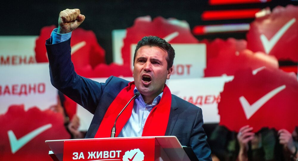 (FILES) This file photo taken on December 04, 2016 shows the leader of the main Macedonian opposition Social Democrats Zoran Zaev delivering a speech during a pre election rally in Skopje on December 4, 2016