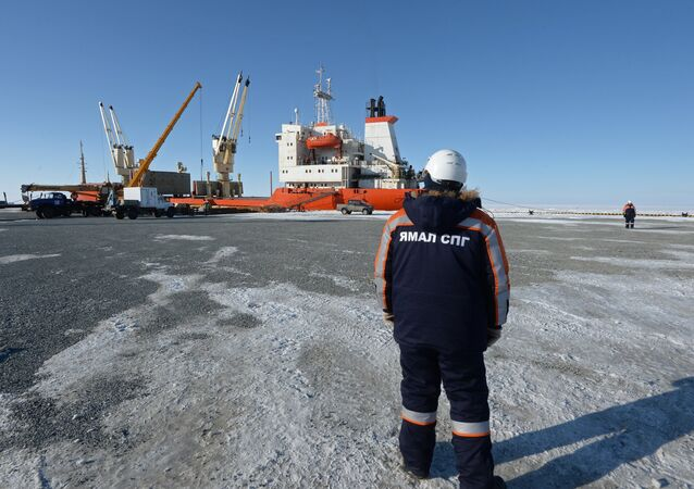 A worker watches a ship being unloaded at Sabetta seaport in the Yamal-Nenets Autonomous Area. (File)