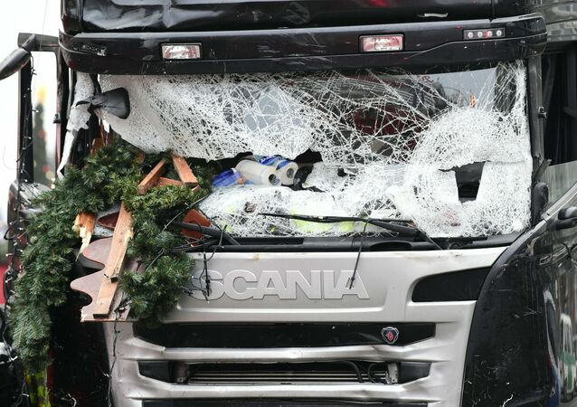 View of the truck that crashed the evening before into a christmas market at Gedдchtniskirche church on early December 20, 2016 in Berlin