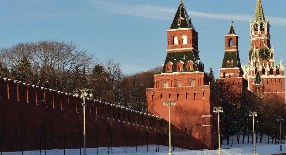 Moscow Kremlin towers (from left): Konstantino-Yeleninskaya, Nabatnaya, Tsarskaya and Spasskaya