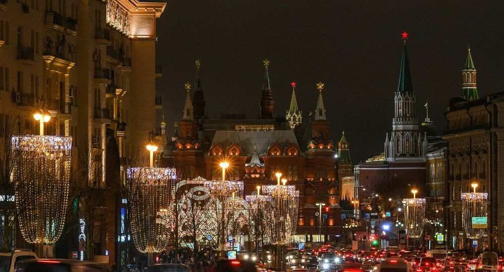 Moscow's Tverskaya Street decorated for the New Year