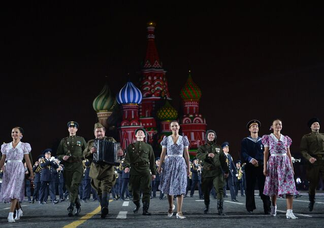 The Alexandrov Song and Dance Ensemble of the Russian Army during the final rehearsal of the opening ceremony of the 2015 International Military Music Festival 'Spasskaya Tower' on Moscow's Red Square. (File)