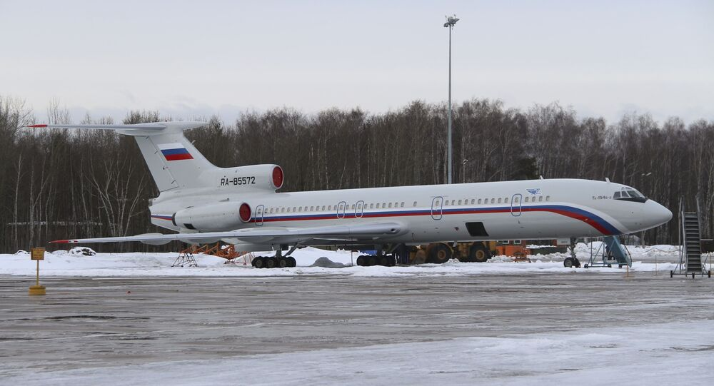 A Tupolev Tu-154 stands on the tarmac of the Chkalovsky military airport north of Moscow, Russia. (File)