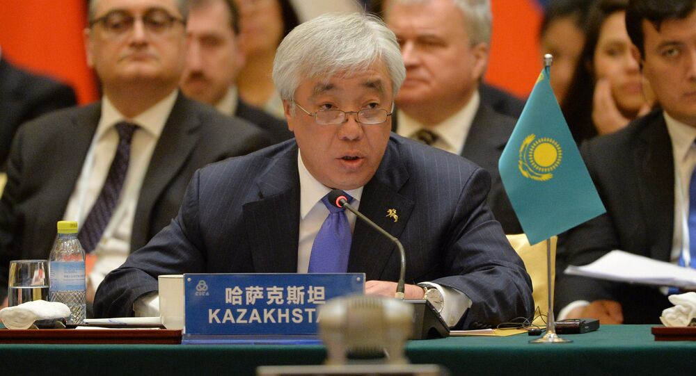 Kazakhstan's Foreign Minister Erlan Idrissov speaks during the Conference on Interaction and Confidence Building Measures in Asia (CICA) at the Diaoyutai State Guesthouse in Beijing on April 28, 2016