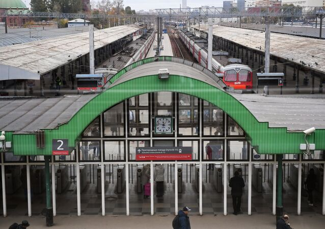 Passengers at the entrance to the suburban train platform at the Yaroslavsky railway terminal in Moscow