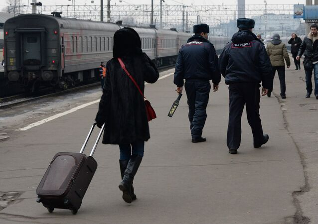 Police officers patrol Moscow's Kazan Train Station. File photo