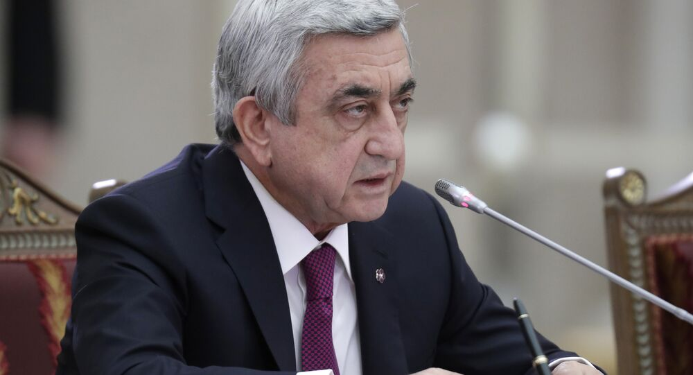 Armenian President Serzh Sargsyan attends the Supreme Eurasian Economic (SEEC) Council meeting in St.Petersburg, Russia, Monday, Dec. 26, 2016