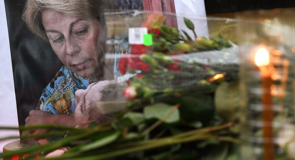Flowers outside the Fair Aid International Public Organization in memory of Yelizaveta Glinka (Doctor Liza), who died in the Russian Defense Ministry's TU-154 aircraft crash off the Black Sea coast near Sochi