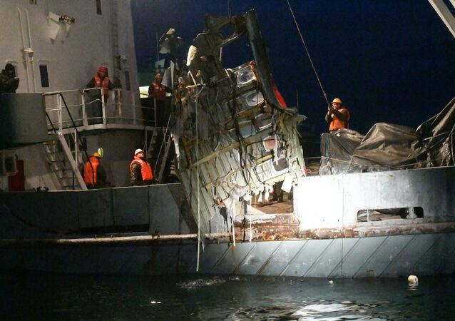 A search operation near the Black Sea coast where a Tu-154 plane of the Russian Ministry of Defense crashed near Sochi
