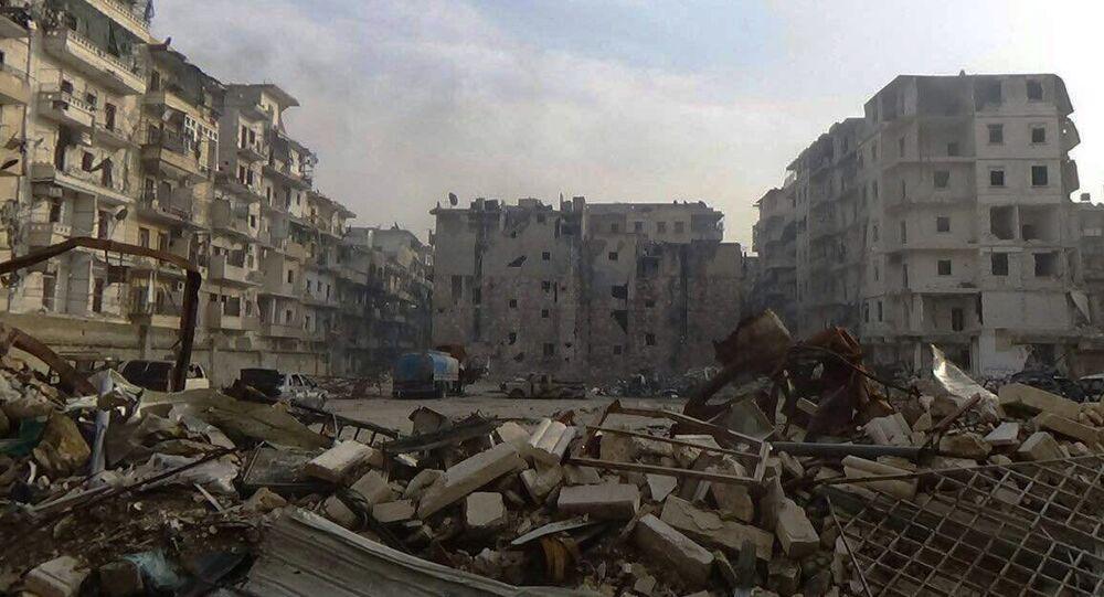 Destruction in Al Soukari, the last liberated district in Eastern Aleppo