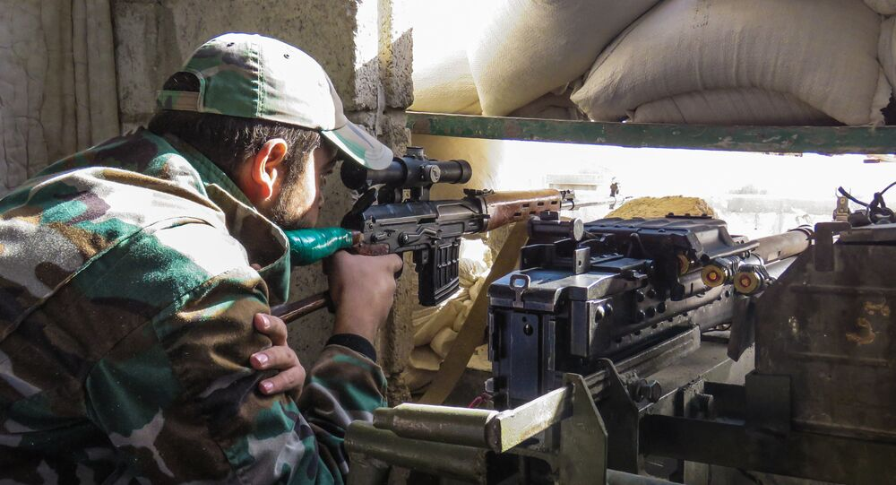 Syrian Army sniper on the eastern outskirts of the capital Damascus (File)