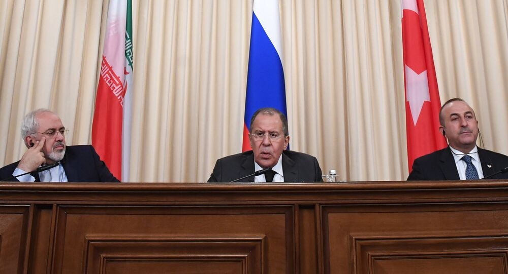 News conference by foreign ministers of Russia, Iran and Turkey