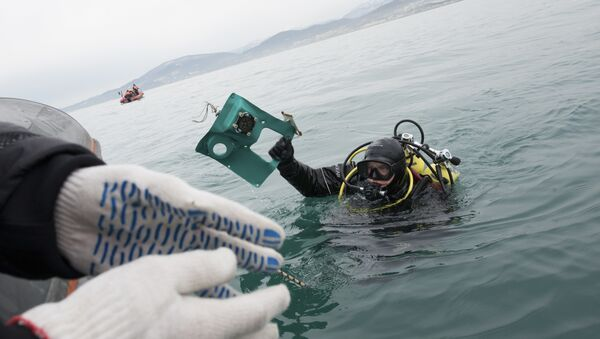 A Russian Emergency Ministry diver lifts a fragment of a plane in the Black Sea, outside Sochi, Russia, Tuesday, Dec. 27, 2016 - Sputnik International
