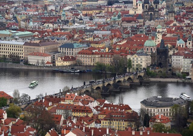 Karluv Most (Charles Bridge) across the Vltava River in Old Prague