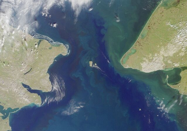 The Bering Strait, seen here in a satellite image, is the body of water that separates North America from Russia.