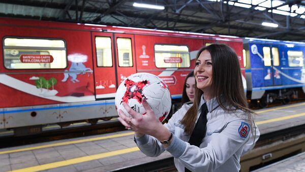 Moscow metro presents FIFA Confederations Cup 2017 train - Sputnik International