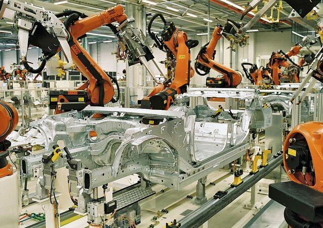 Kuka robots spot welding in the automotive industry