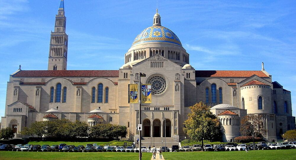 The Basilica of the National Shrine of the Immaculate Conception located next to The Catholic University of America campus in Washington, D.C.
