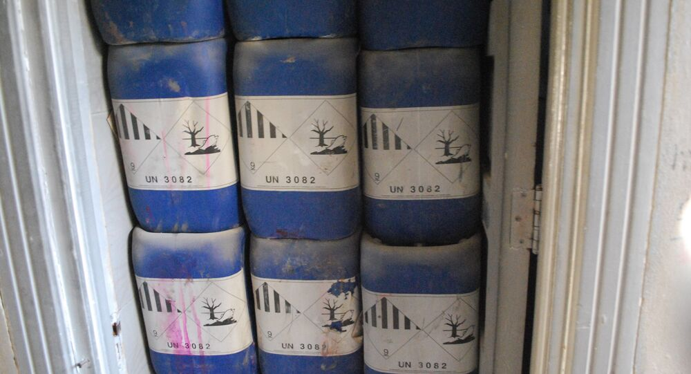 Canisters found at a terrorist chemical weapons factory in Aleppo